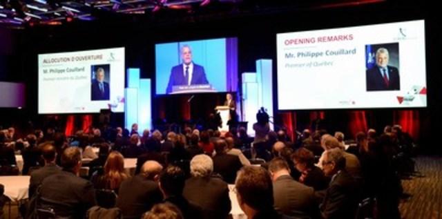 Discours d'ouverture du Forum Innovation aérospatiale 2016 par le premier ministre du Québec, M. Philippe Couillard, dans le cadre de la Semaine internationale de l'aérospatiale – MONTRÉAL. (Groupe CNW/Aéro Montréal)