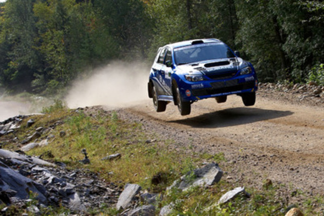 L'Équipe de rallye Subaru Canada au Rallye Défi Ste-Agathe. Photo courtoisie de www.worldrallysport.com. (Groupe CNW/Subaru Canada Inc.)