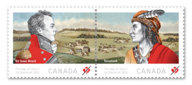 Major-General Sir Isaac Brock and Chief Tecumseh, allies in the war of 1812. (CNW Group/Canada Post)