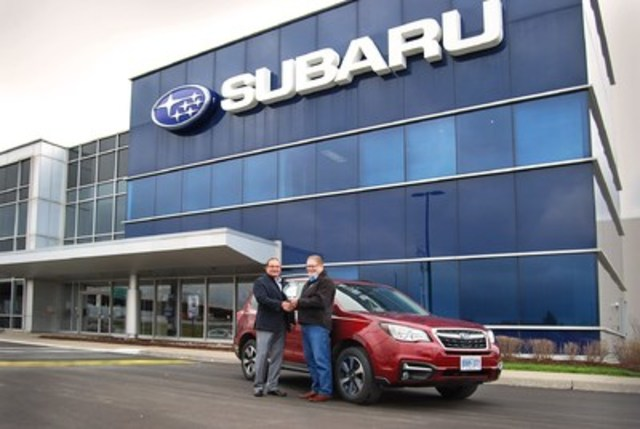 BEST NEW SMALL UTILITY Subaru Forester, with 678 points, and scoring highest in Value, Off-Road Capability and Occupant Environnent. 2nd place Ford Escape with 670 points. 3rd place Kia Sportage with 664 points. (Left: Ted Lalka, Vice President, Product Management, Marketing & Customer Experience, Subaru Canada Inc., Right: David Taylor, CCOTY Committee) (CNW Group/Automobile Journalists Association of Canada)