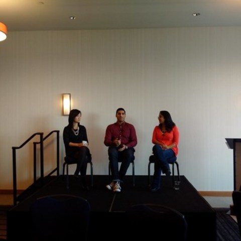 Andree Lau, Farhan Mohamed & Tamara Baluja discuss the business of online news at CNW's Breakfast with the Media event  in Vancouver on Nov 3, 2015. (Photo Credit: Mike Hellinger) (CNW Group/CNW Group Ltd.)