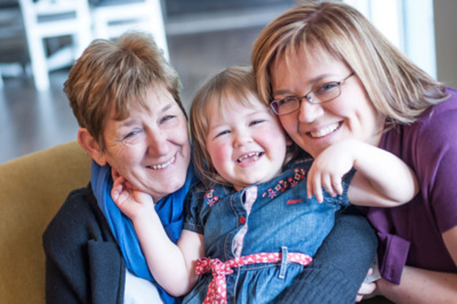 Three generations of smiles at Ronald McDonald House® Southwestern Ontario (Left to right: Therese Kouwenberg (Oma), Katie Mills (daughter) and Hanneke Mills (mother), a family who have stayed at the House multiple times during Katie's treatment) Photo taken by Melissa Doyle. (CNW Group/Ronald McDonald House Charities Canada)