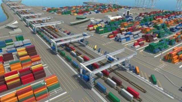 GCT Deltaport Intermodal Yard Reconfiguration project with Künz CRMGs in 2017 (CNW Group/GCT Global Container Terminals Inc.)