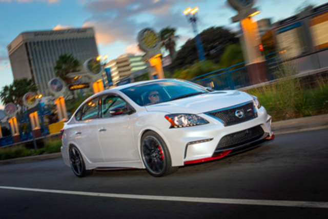 The Nissan Sentra NISMO Concept produces more than 240 horsepower from its 1.8-litre direct injection turbocharged 4-cylinder engine, and comes equipped with a 6-speed manual transmission, limited slip differential, enhanced aerodynamics and NISMO-tuned suspension and steering (CNW Group/Nissan Canada Inc.)