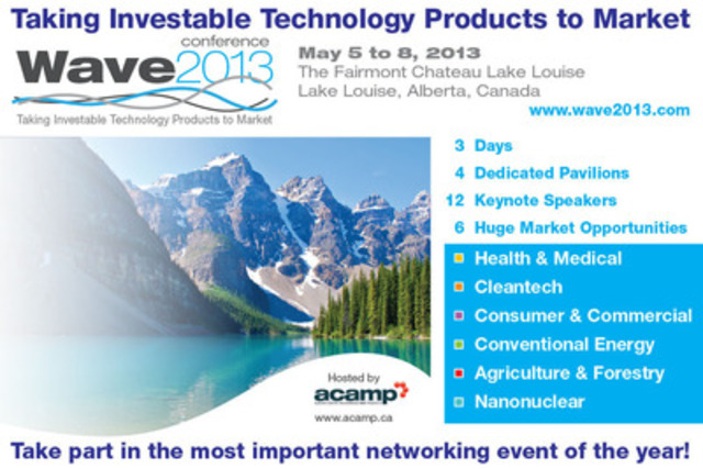 Wave Conference 2013 in Lake Louise, Canada. Early bird registration ends January 18th! (CNW Group/Alberta Centre for Advanced MNT Products (ACAMP))