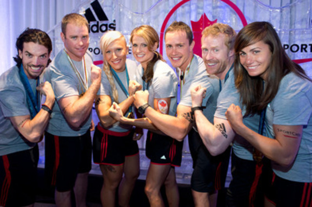 adidas and Canadian Olympic Team announce new partnership; adidas and Sport Chek announce seven athlete partnerships and new adidas Canadian Olympic Team High Performance Collection. L to R: Charles Hamelin, Chris Del Bosco, Kaillie Humphries, Meaghan Mikkelson, Erik Guay, Jon Montgomery, Maëlle Ricker (CNW Group/FGL Sports Ltd.)