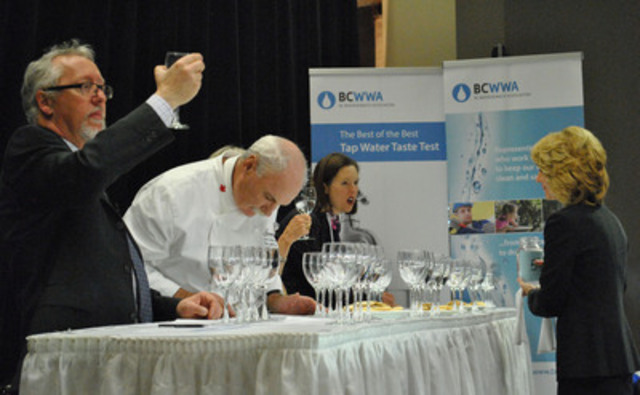 "BC Water and Waste Association's inaugural ""Best of the Best"" tap water challenge on May 5. Aqualiers are judging tap water from 11 communities based on appearance, aroma, taste, mouth feel, aftertaste, and overall impression. (Left to right: Robert Haller, Executive Director of Canadian Water & Waste Associaton; Robert LeCrom, Executive Chef at Fairmont Chateau in Whistler; Sandra Ralston, President of Water Environment Federation; Rosemary Smud, Vice President of American Water Works Association) (CNW Group/BC Water and Waste Association)"