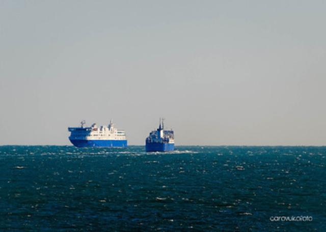 The MV Camille-Marcoux greeting the MV F.-A.-Gauthier, its successor (CNW Group/Société des traversiers du Québec)