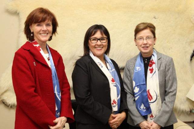 Minister of Health Leona Aglukkaq joined by June Webber, RN, PhD, Director of Policy and Leadership, Canadian Nurses Association (left) and Barb Mildon, RN, PhD, CHE, CCHN(C), President , Canadian Nurses Association (right). (CNW Group/Health Canada)