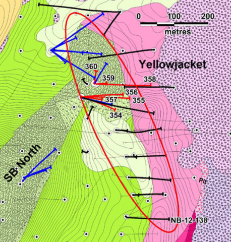 Figure 1: Location of Yellowjacket drill holes. Red collars and traces indicate holes reported in this news release. Blue indicates holes for which assays are pending. Black indicates previously released results. Drillhole NB-12-138 was the Yellowjacket discovery hole (CNW Group/Corvus Gold Inc.)