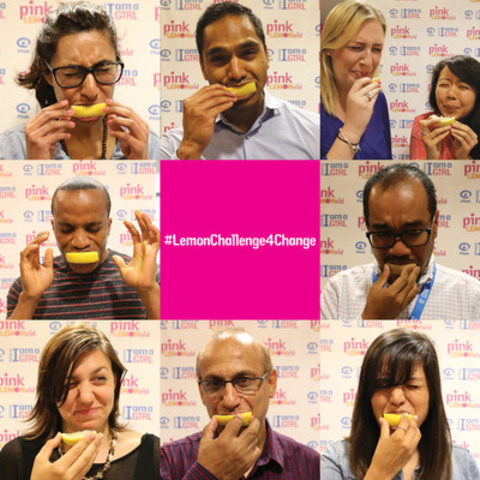 Getting sour for a good cause! Pictured here Plan Canada staff show us their best lemon-biting faces as part of Plan Canada's #LemonChallenge4Change. The campaign aims to encourage Canadian support for girls' rights through Plan Canada's Because I am a Girl initiative. (CNW Group/Plan Canada)