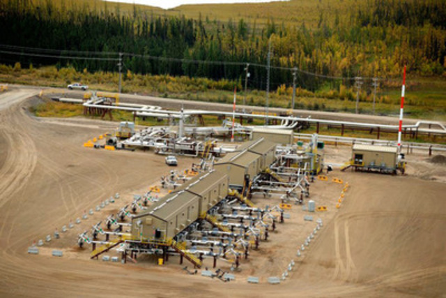 Cenovus drills wells approximately 375 metres deep at one of its oil sands operations in northern Alberta and then injects steam at a low pressure to soften the oil to separate it from the sand in the reservoir below the well pad. This process is called steam-assisted gravity drainage (SAGD). (CNW Group/Cenovus Energy Inc.)