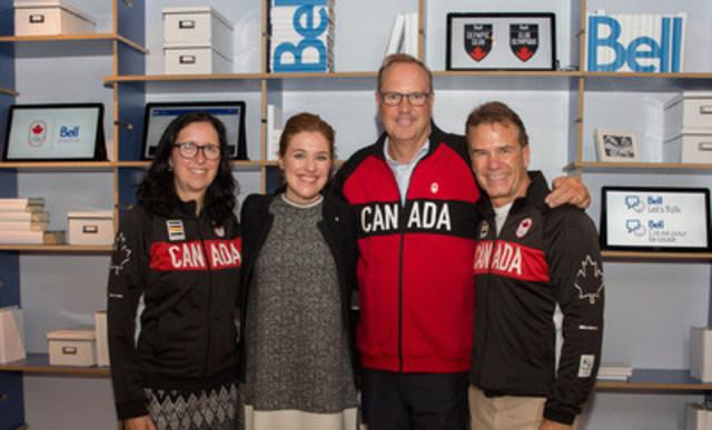 Tricia Smith, Clara Hughes, George Cope et Chris Overholt annoncent le renouvellement du partenariat entre Bell et le Comité olympique canadien jusqu'en 2024. (Crédit photo : Comité olympique canadien) (Groupe CNW/Canadian Olympic Committee)