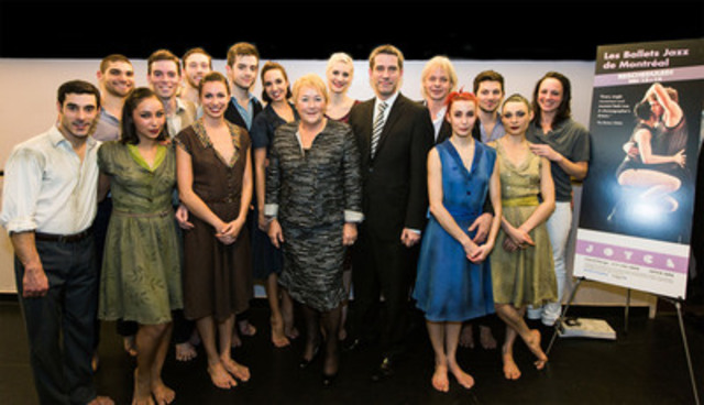 Artists from BJM - Les Ballets Jazz of Montreal at the Joyce Theater New York premiere with Quebec's premier Pauline Marois, Andre Boisclair, newly appointed New York delegate and Louis Robitaille, BJM artistic director. (CNW Group/Les Ballets Jazz de Montréal)