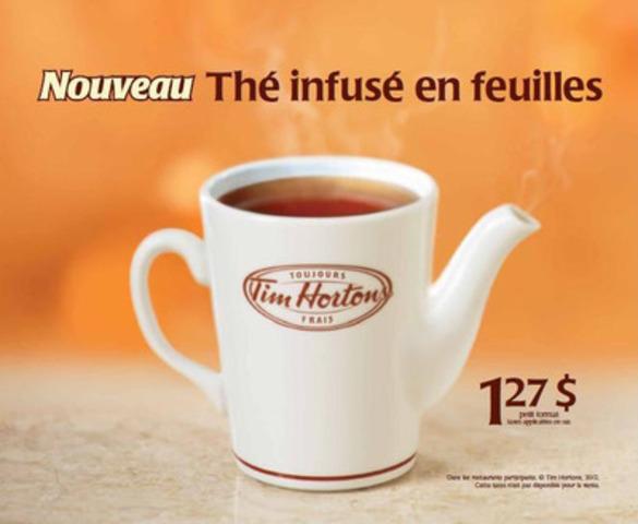 Les amateurs de thé de partout au Québec pourront maintenant déguster un thé en feuilles infusé de première qualité chez Tim Hortons. (Groupe CNW/Tim Hortons Inc.)