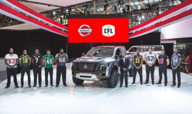 Nine players representing all Canadian Football League (CFL) teams helped unveil the Nissan TITAN Warrior Concept at the Canadian International Auto Show. Pictured (from left-to-right): Jovan Olafioye, (BC Lions), Cory Watson (Edmonton Eskimos), Junior Turner (Calgary Stampeders), Jeff Knox, Jr. (Saskatchewan Roughriders), Stanley Bryant (Winnipeg Blue Bombers), Jeffrey L. Orridge (CFL Commissioner), Simoni Lawrence (Hamilton Tiger-Cats), Tyler Holmes (Toronto Argonauts), Patrick Lavoie (Ottawa REDBLACKS) and Kyries Hebert (Montreal Alouettes). (CNW Group/Nissan Canada Inc.)