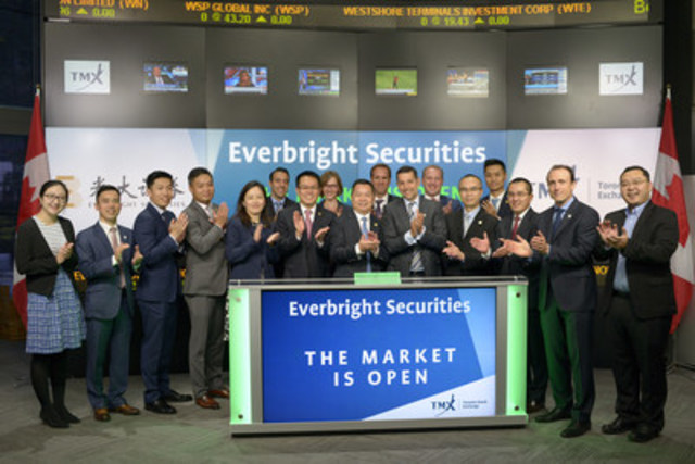 Xingshuang Guo, Deputy General Manager of Everbright Group, Chairman Everbright Securities Co., Ltd joined Nick Thadaney, President and CEO, Global Equity Capital Markets, TMX Group to open the market. Founded in 1996, Everbright Securities provides brokerage services for stocks, funds, warrants, and bonds in various capital markets in China and internationally. The company also provides investment banking, asset management, investment consulting, and fund management. For more information, please visit http://www.ebscn.com (CNW Group/TMX Group Limited)