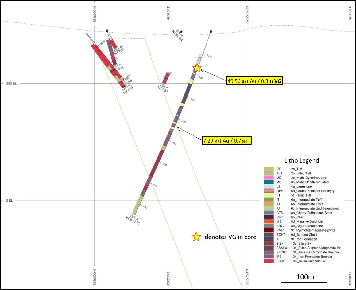 Diagram 5: DDH NT20-175, vertical section, looking northeast, 60m window. NT Zone outline dipping SE (right), internal wireframes are mineralized shapes used in 2015 Preliminary Economic Evaluation. (CNW Group/Trillium Gold Mines Inc.)
