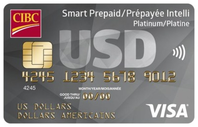 The new CIBC Smart™ Prepaid Travel Visa card is available in US dollars, Euros, Pounds, and Mexican Pesos. (CNW Group/CIBC)