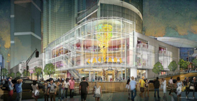 Caesars Entertainment and Rock Gaming's early vision for a downtown Toronto gaming entertainment facility, which could be developed that the Metro Toronto Convention Center. Highlights of the Caesars-branded development include a sophisticated and modern structure with a multi-story glass entry to integrate into the city's urban fabric. (CNW Group/Caesars Entertainment Corporation)