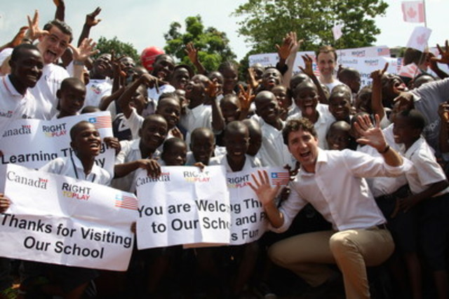"Canadian Prime Minister Justin Trudeau took a break from official government duties to join a group of 11- and 12-year-old students at Monrovia's Slip Way Public School. The Prime Minister visited the school to see the progress made through the ""Play for the Advancement of Quality Education"" (PAQE) program —a two-year play-based learning program funded by the Government of Canada through Global Affairs Canada. The PAQE, implemented in partnership with Canadian-based not-for-profit, Right To Play aims to improve children's access to quality education, with particular focus on girls. (CNW Group/Right to Play)"