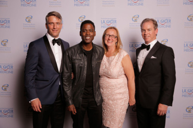 Comedian Chris Rock helped Toronto East General Hospital (TEGH) raise $2.5 million-Left to right: Michael Burns, Chairman of the Board, TEGH Foundation; Chris Rock; Teresa Vasilopoulos, President of TEGH Foundation; Michael Geddes, Gala Chair. (CNW Group/Toronto East General Hospital)