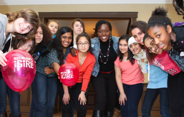 Canadian Olympic wrestler Ohenewa Akuffo celebrates girl power at an interactive youth conference hosted by Plan Canada's Because I am a Girl initiative and the Toronto District School Board's Young Women on the Move on March 7 to mark International Women's Day. More than 300 girls attended the event. (CNW Group/Plan Canada)