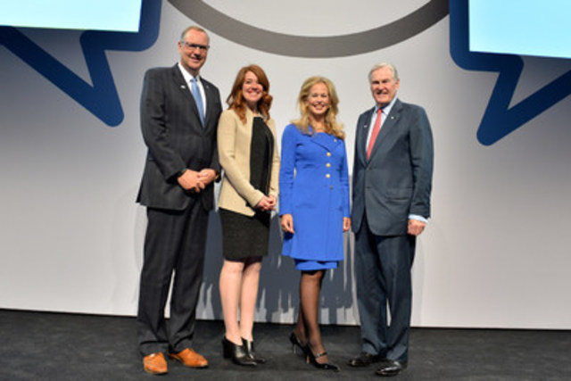 From left, President and CEO of BCE and Bell Canada, George Cope, Bell Let's Talk national spokesperson and Olympian, Clara Hughes, Chair of Bell Let's Talk, Mary Deacon and Chair of the Mental Health Commission of Canada, the Hon. Michael Wilson. (CNW Group/Bell Canada)