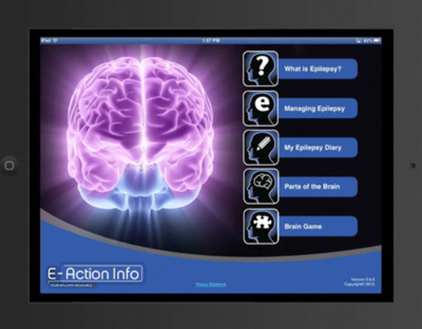 E-Action™ Info, an App for iPhones, iPads and iPod Touch is designed to educate people living with epilepsy and all Canadians, is now available from the App Store. (CNW Group/UCB Canada Inc.)