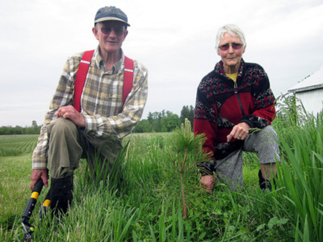 John and Rosemary Dunsmore, retired Barrie cattle farmers, are Trees Ontario's latest Green Leaders. The couple has planted nearly 60,000 new trees on their 140-acre property through the government of Ontario's 50 Million Tree Program. (CNW Group/Trees Ontario)