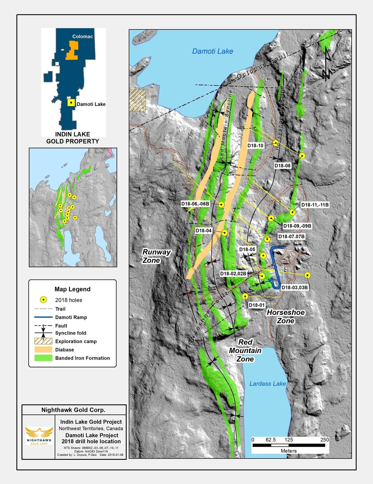 Figure 1.  Plan View – Damoti Drillhole Locations