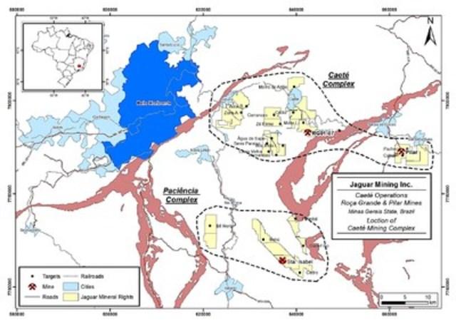 Figure 2 – Caeté Complex Location Map (CNW Group/Jaguar Mining Inc.)