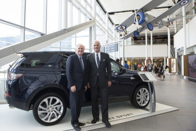 President of Jaguar Land Rover Canada, Lindsay Duffield and Geoffrey Wilson, CEO, PortsToronto with the all-new  ...