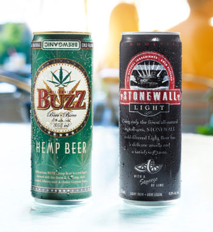 Cool Brewery, one of Ontario's fastest growing regional breweries, has launched two of its flagship beers - Stonewall Light and Millennium Buzz - in distinctive SLEEK(R) cans from Rexam. (CNW Group/Cool Beer Brewing Co.)
