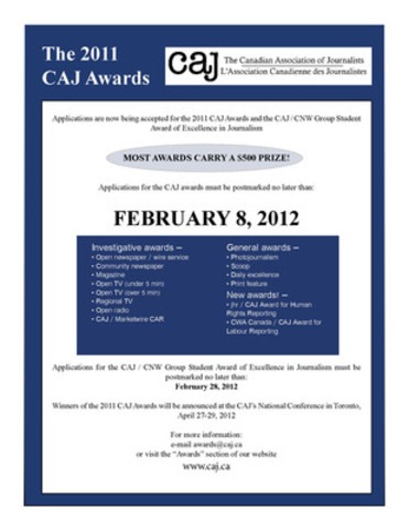 Revised CAJ Awards poster (CNW Group/Canadian Association of Journalists)