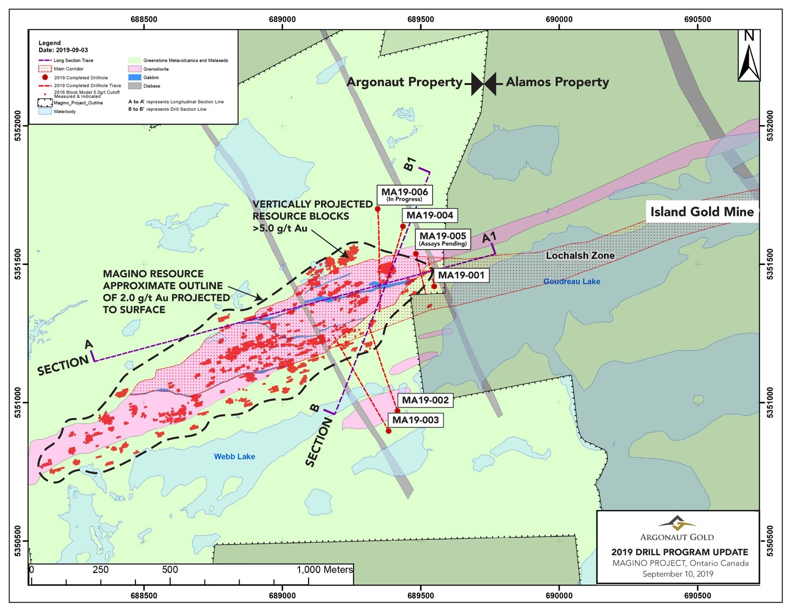 A geological map of the Magino Project located approximately 14 kilometres southeast of Dubreuilville, Ontario, adjacent to the Island Gold Mine. The map shows key drillhole locations from our recent drilling program.