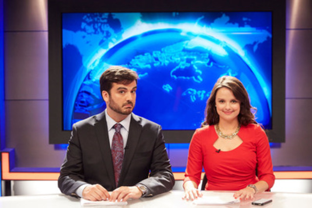 "Co-Anchors Miguel Rivas and Emma Hunter prepare to bring the most pressing ""real"" news into the living rooms of Canadians each week (CNW Group/Bell Media) (CNW Group/Comedy)"