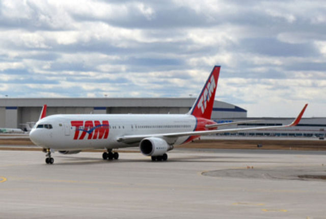 TAM Airlines' Boeing 767-300 departs from the gate at Toronto Pearson Airport on Monday, March 30th 2015. TAM Airlines recently announced its new route from Toronto to São Paulo, allowing Canadians to easily connect to over 115 South American destinations in the LATAM Airlines Group network. (CNW Group/TAM Airlines)