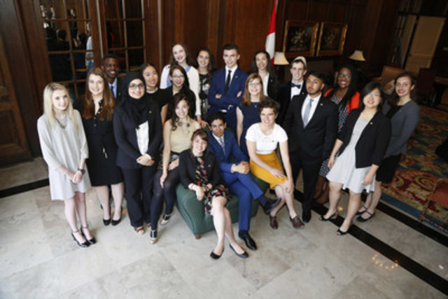 Twenty Canadian students honoured as the 2016 TD Scholarships for Community Leadership recipients for their outstanding achievements and contributions. Recognized by TD Bank Group at a ceremony in Ottawa on May 31, 2016, each recipient will receive up to $70,000 for tuition and living expenses for post-secondary education. (CNW Group/TD Bank Group)