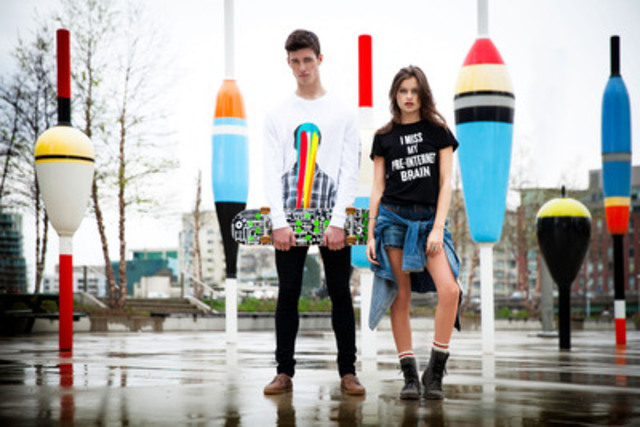 Roots Canada and Douglas Coupland collaborate on a collection debuting today on Twitter. On May 30th the collection will be made available in store and online (CNW Group/Roots Canada Ltd.)