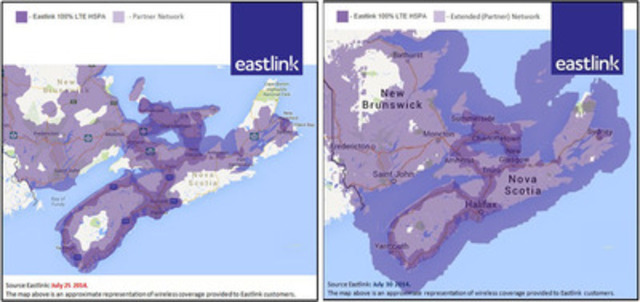 Eastlink Wireless Total Network Coverage before and after July 30, 2014 (CNW Group/Eastlink)