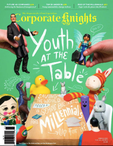 Youth is the dominant theme in the spring issue of Corporate Knights, released on April 1. The issue features the Top 30 Under 30 Sustainability Leaders list, and our second-annual Future 40 Responsible Corporate Leaders in Canada ranking. (CNW Group/Corporate Knights Inc.)
