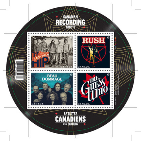 Canadian bands Beau Dommage, Rush, The Guess Who and The Tragically Hip will be spotlighted in the stamp series created to honour musical legends. (CNW Group/Canada Post)