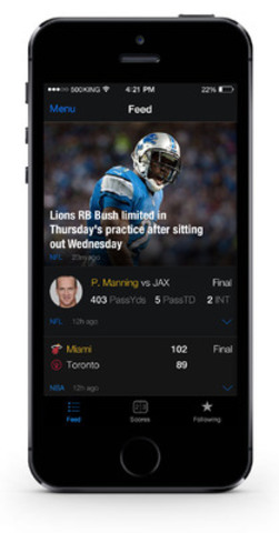 Feed on theScore for iPhone (CNW Group/theScore, Inc.)