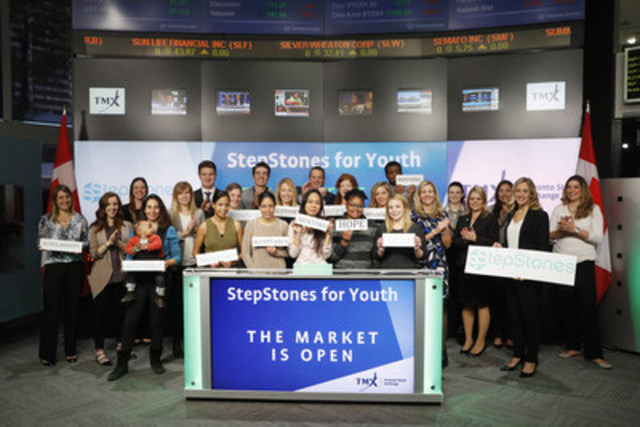 Representatives from StepStones for Youth joined Peter Conroy, President, Shorcan Brokers Limited, TMX Group to open the market to celebrate the fifth anniversary of  SPIRIT Mentoring Program. StepStones' goal is to enhance the growth and success of youth at risk who have experienced trauma, financial instability and lack of guardian care; by connecting them with mentors, social workers, scholarships, skills training and ongoing support network.  StepStones kicks off their winter fundraising season with Crafting Their Future a reception on November 1 in the TMX Gallery. For more information, please visit www.stepstonesforyouth.com/ (CNW Group/TMX Group Limited)