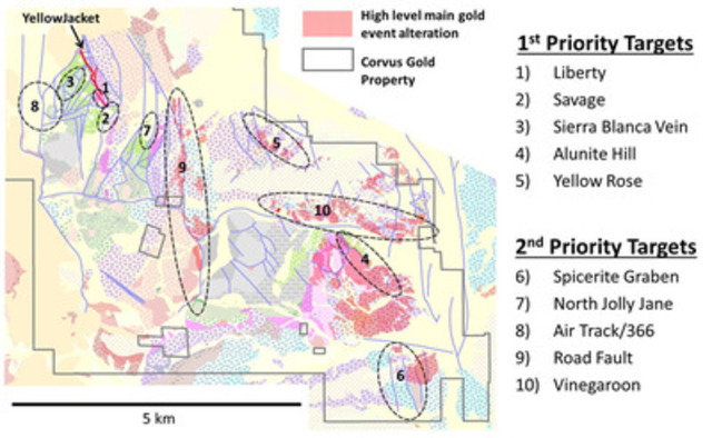 Figure 1. North Bullfrog 2015 exploration target map with target areas numbered in order of priority  (CNW Group/Corvus Gold Inc.)