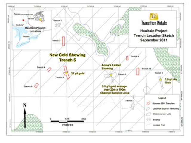 Map 1: Trench Location Sketch (CNW Group/Transition Metals Corp.)