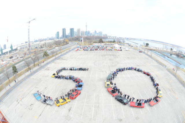 50 years ago, on April 17, 1964, an automotive and pop culture icon was born. To celebrate, Ford of Canada and members of the Golden Horseshoe Mustang Association and GTA Mustang Club took an aerial shot of 25 classic Mustangs forming a '50' at Ontario Place in Toronto. Simultaneously, more than 100 additional Mustangs participated in a vintage car show at the same location. (CNW Group/Ford of Canada)