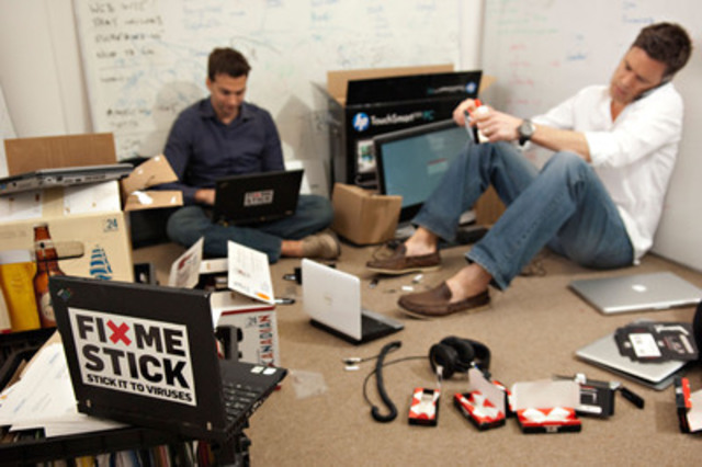 FixMeStick co-founders in their original Montreal office. (CNW Group/FixMeStick Technologies)