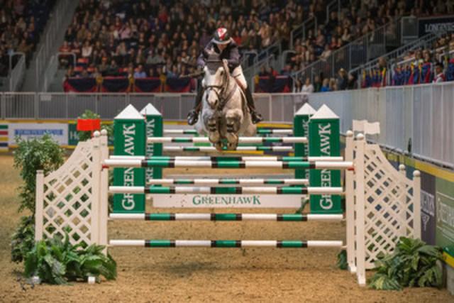 """Jill Henselwood and Farfelu du Printemps, owned by John Madigan, won the $100,000 Greenhawk Canadian Show Jumping Championship at the 2015 Royal Horse Show® on Saturday, November 7.""  (CNW Group/Royal Agricultural Winter Fair)"